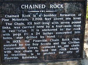 Plaque at Chained Rock, Pine Mountain , KY