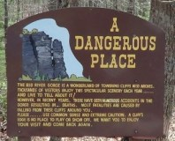 Warning sign at Chimney Top Rock, Red River Gorge, KY