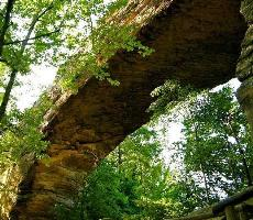 Looking up at stone arch, Natural Bridge, KY