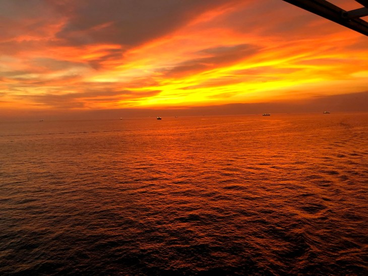 Sunset on the Gulf of Mexico, from starboard side