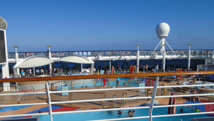 Liberty of the Seas; view of pools from Deck 12
